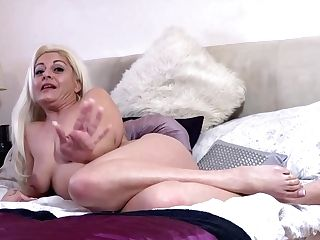 Horny Blonde Woman, Kelly Cummins Is Naked In Her Couch And Playing Her Flawlessly Smooth-shaven Snatch