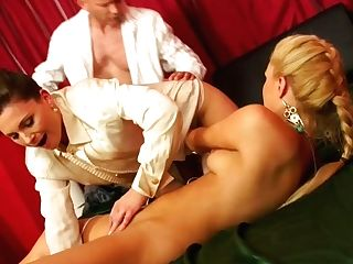 Two Peppering Mummies Get Fucked In Turns While Taunting Their Cunts With Hitachi