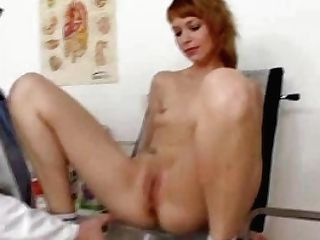 Lean Ginger-haired Electra Angel Treated By Indecent Cunt Physician