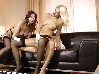 Classy Eurobabe Shares Dick With Glamour Cougar